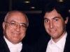 Un momento di relax di Salvatore Accardo e Giulio durante l'incisione di un CD dell'Orchestra da Camera Italiana